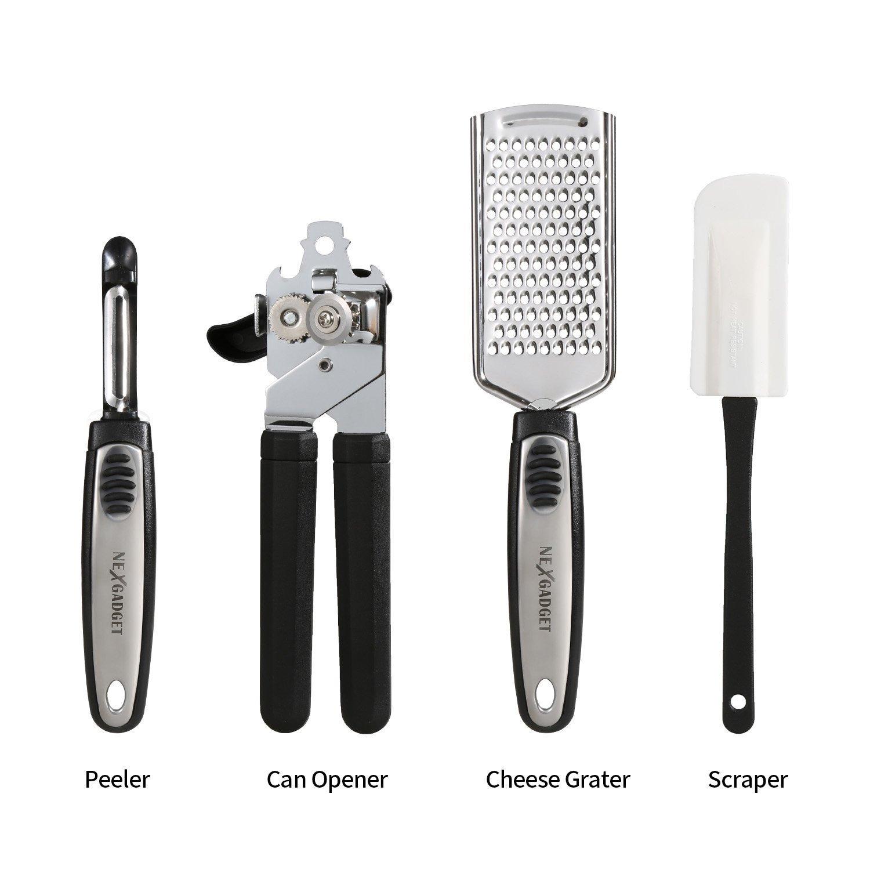 NEXGADGET 19 Pieces Kitchen Utensils Set, Cooking Tools & Gadgets,  Stainless Steel & Nylon Kitchen Utensil Starter Kit (19)