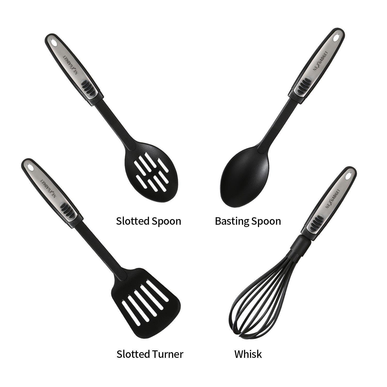 Nexgadget 19 Pieces Kitchen Utensils Set Cooking Tools Gadgets Stainless Steel Nylon Kitchen Utensil Starter Kit 19 Party Supply Factory
