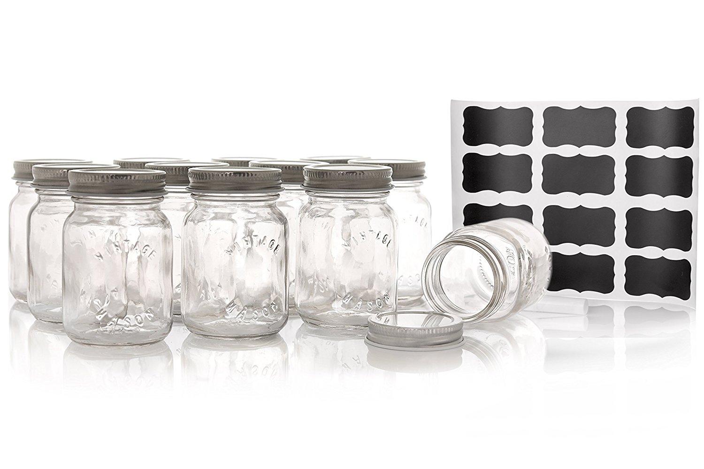 Premium mason style spice jar set by cucina di marco 12 for Designer glass jars