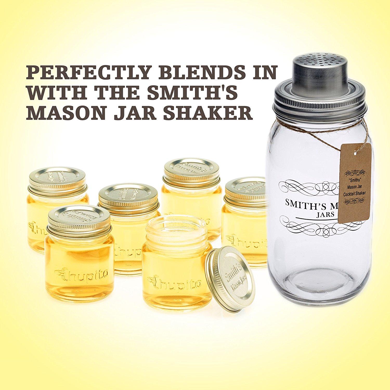 Smiths Mini Mason Jar Set Of 6 Chupito Shot Glasses With Lids