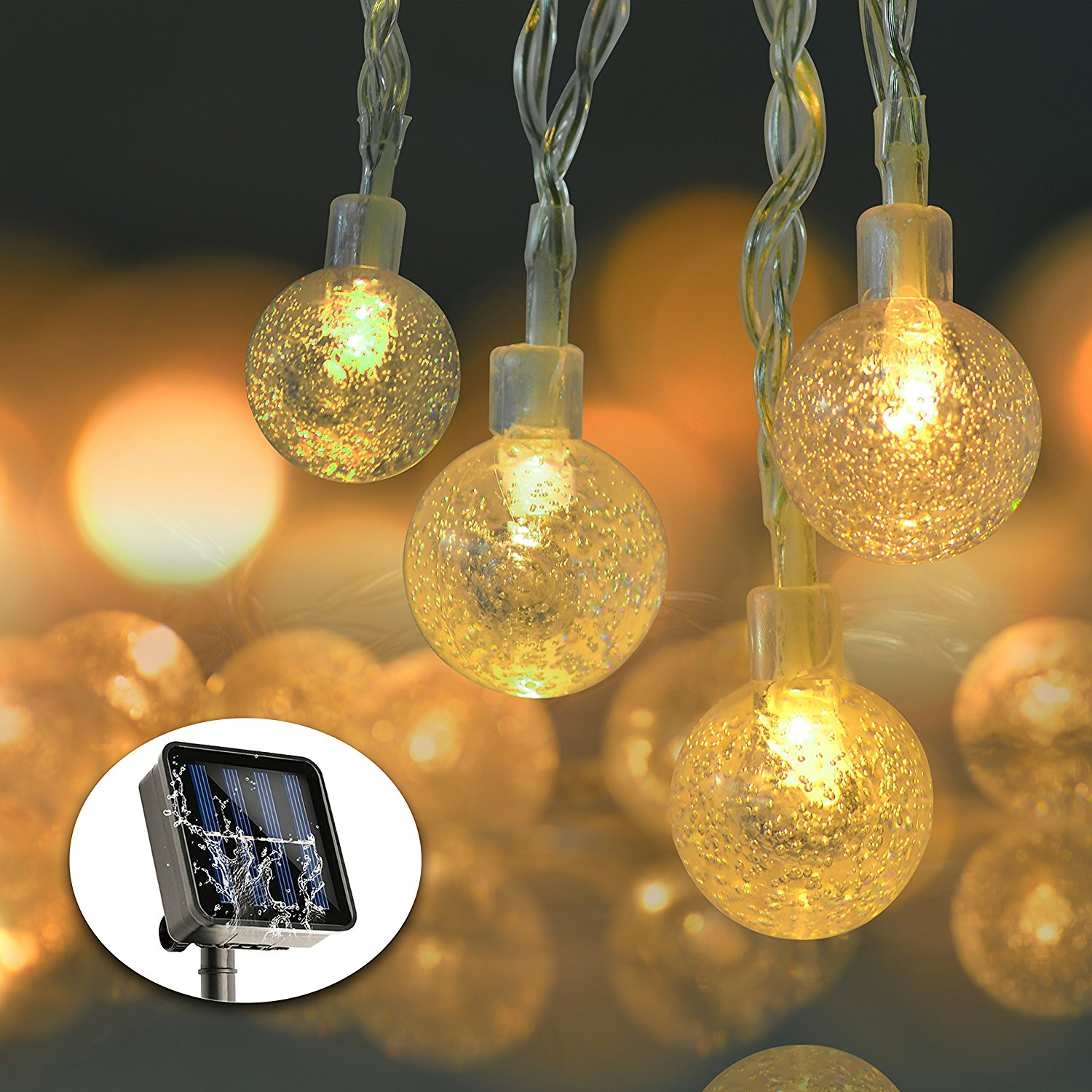 Solar String Lights 19 7ft 30 Led Waterproof Crystal Ball