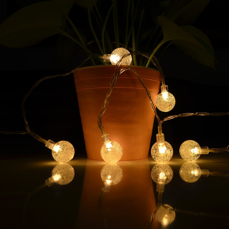 Solar String Lights, 19.7Ft 30 LED Waterproof Crystal Ball Solar ...