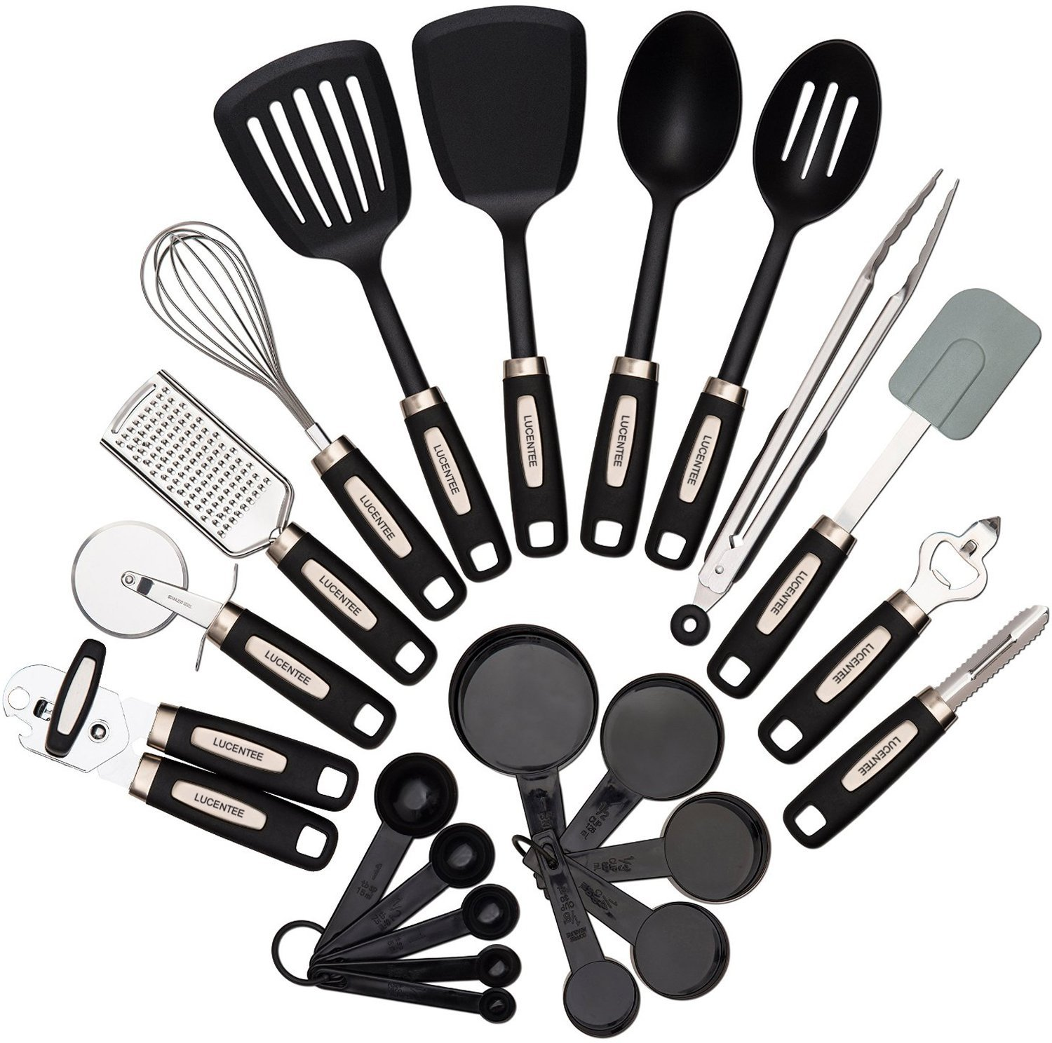 22 Piece Kitchen Utensils Sets Home Cooking Tools Stainless Steel Nylon Gadgets Turners Tongs Spatulas Pizza Cutter Whisk Bottle Opener Grater
