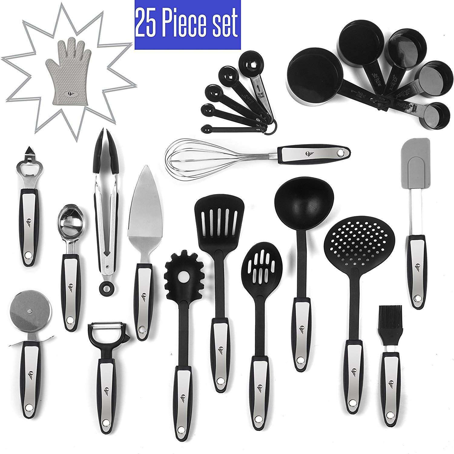 25 piece kitchen utensils set stainless steel and nylon for Kitchen set rate