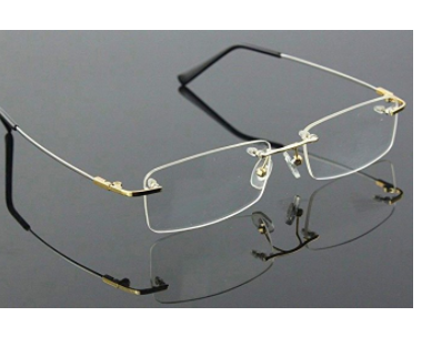 23edafee87 Agstum Titanium Alloy Flexible Rimless Frame Prescription Eyeglasses ...