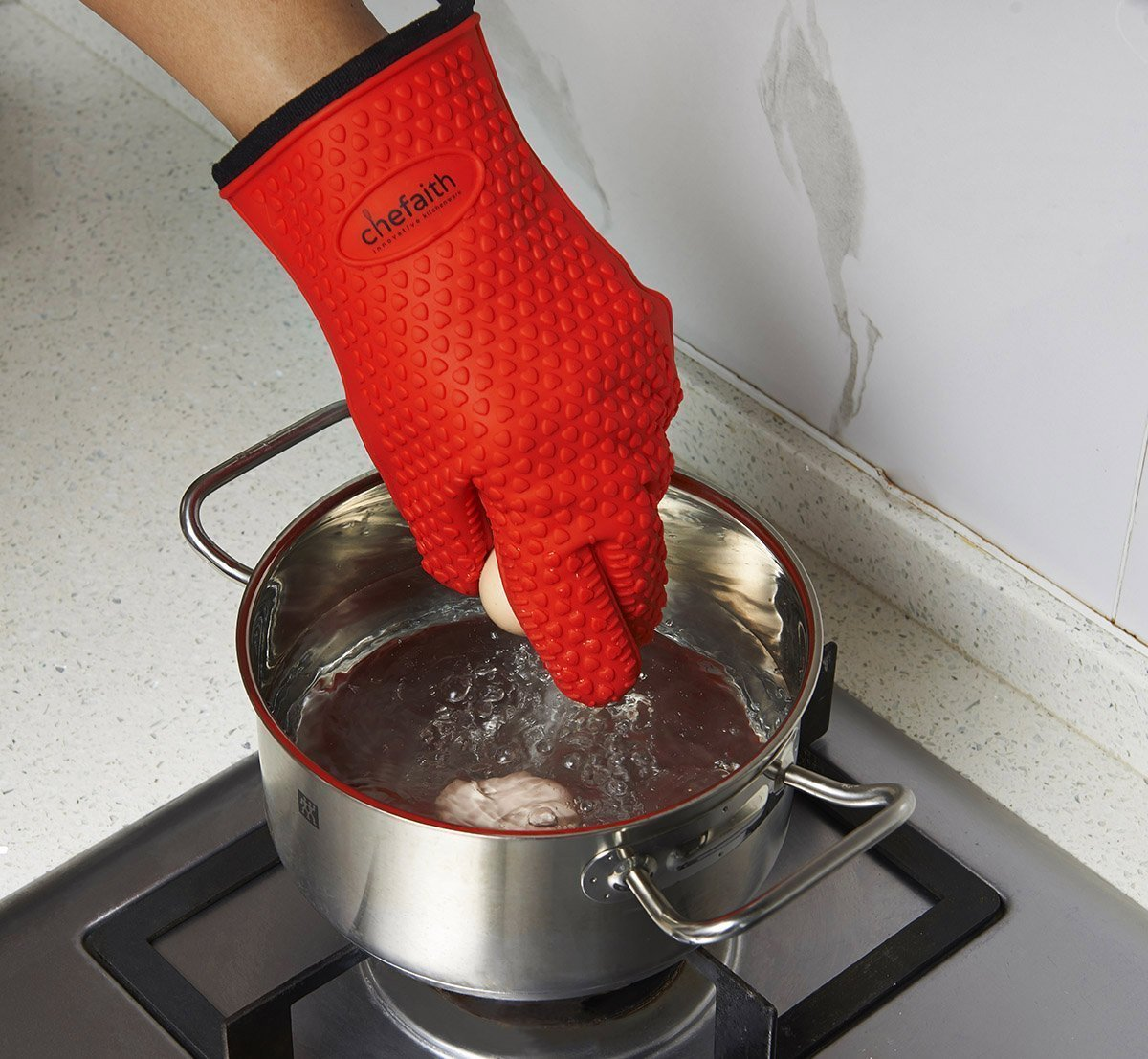 Chefaith Silicone Kitchen Gloves Fabric Lining Inner