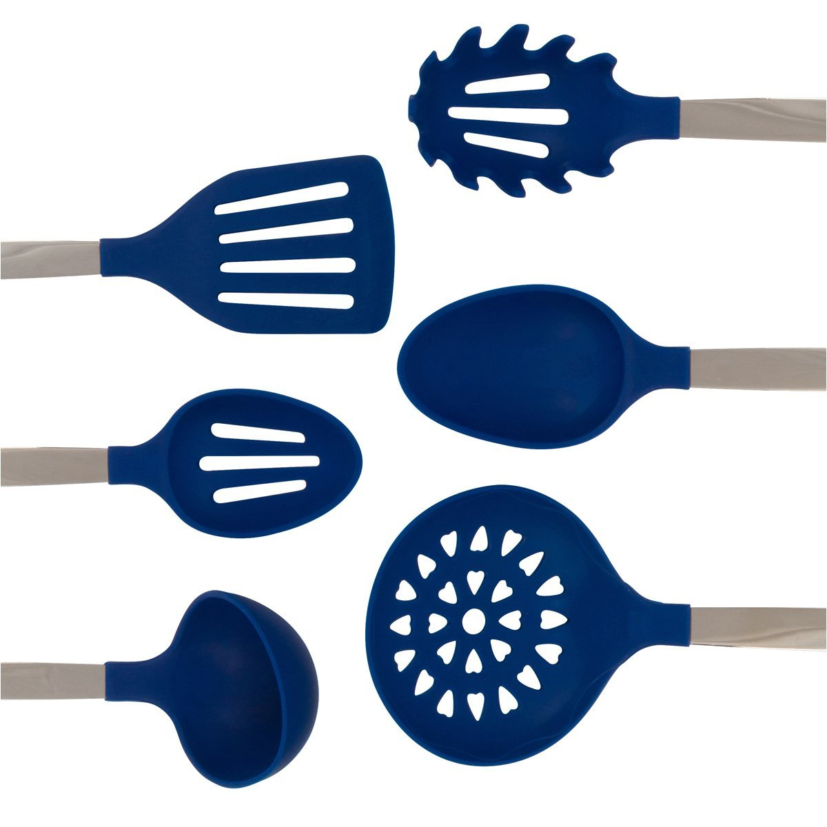 Culinary Couture Stainless Steel And Silicone Cooking Utensil Set With Ebook Blue