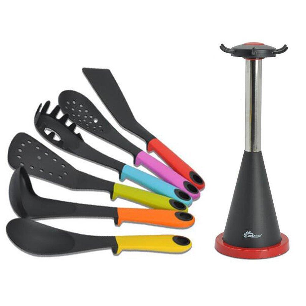 Kitchen utensil set 7 piece nylon kitchen cooking utensil for Kitchen set non stick