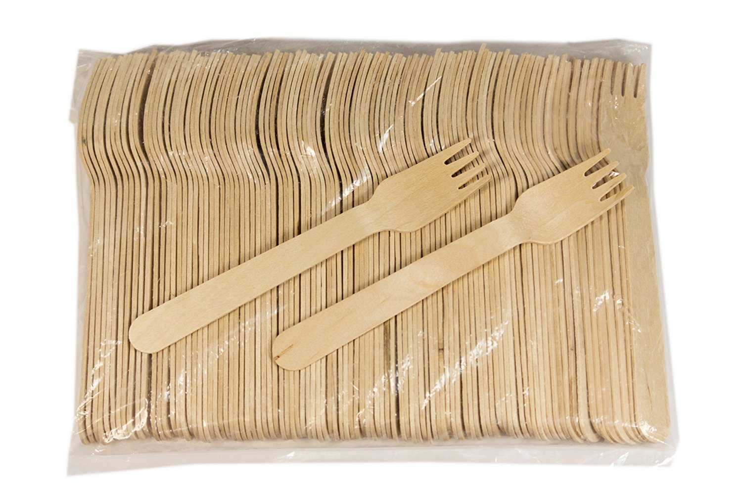 pack of 100 Perfect Stix Green Fork 158 Wooden Cutlery Forks 6 Length