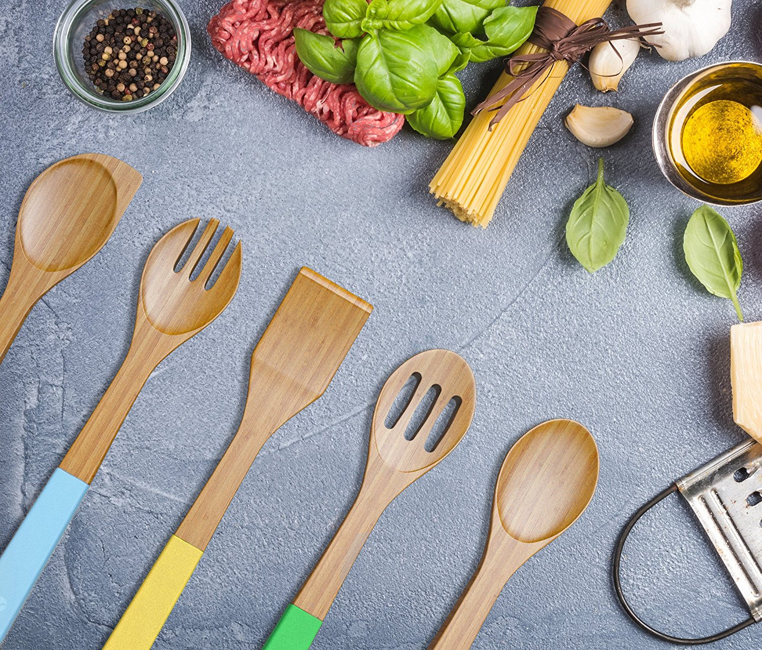 Vremi 5 Piece Bamboo Spoons Cooking Utensils Wooden Spoons And Spatula Utensil Set Bamboo Wood Nonstick Cooking Spoons For Kitchen With Colorful