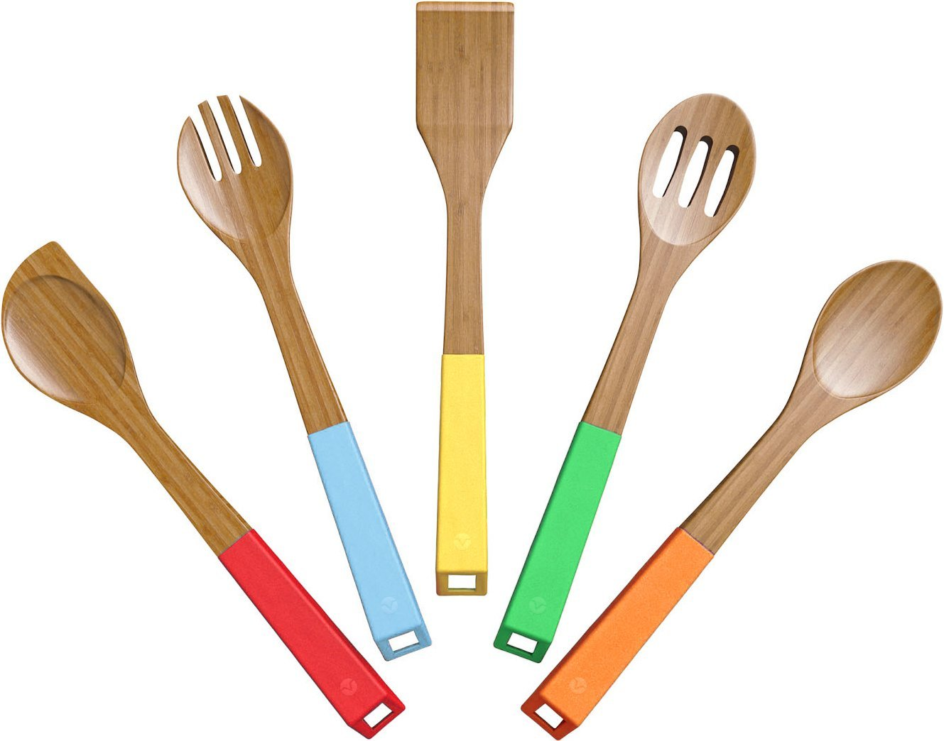 Vremi 5 Piece Bamboo Spoons Cooking Utensils – Wooden ...