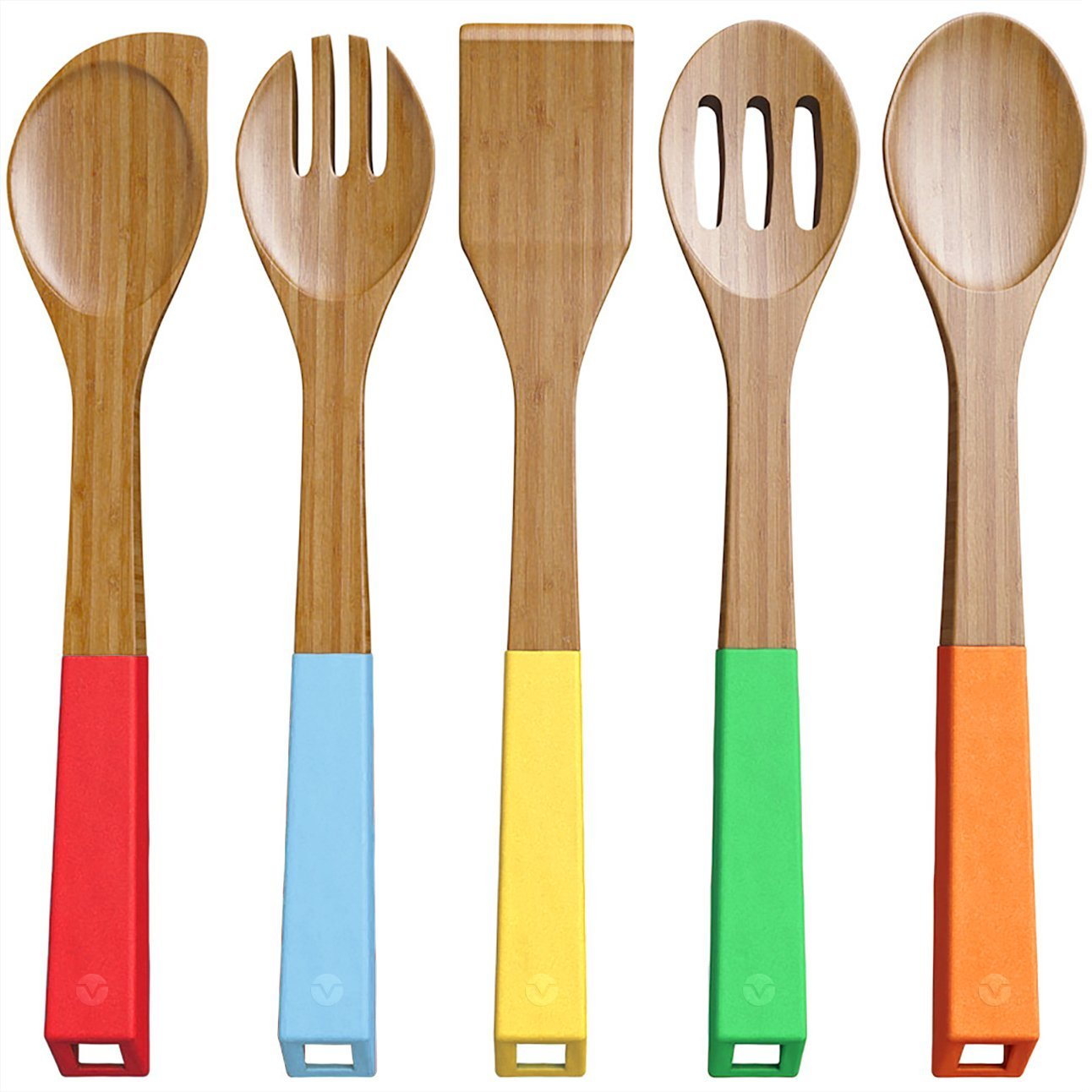 Wood Kitchen Utensil Set: Vremi 5 Piece Bamboo Spoons Cooking Utensils