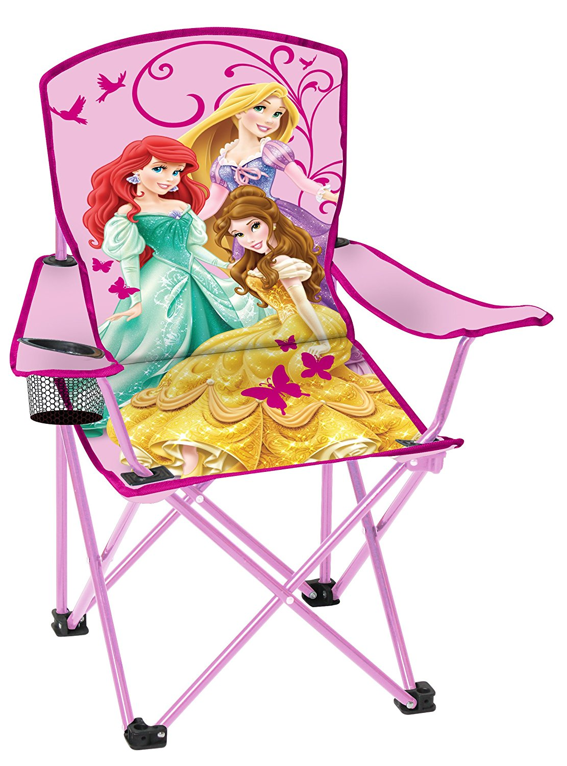Disney Youth Princess Folding Chair With Armrest And Cup