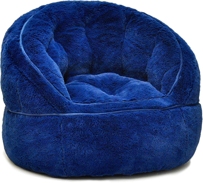 Heritage Kids Toddler Rabbit Fur Bean Bag Chair, Navy ...