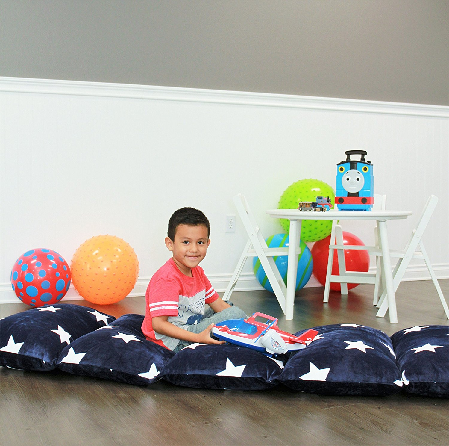 Kids Floor Pillow Fold Out Lounger Fabric Cover for Bed and Game ...
