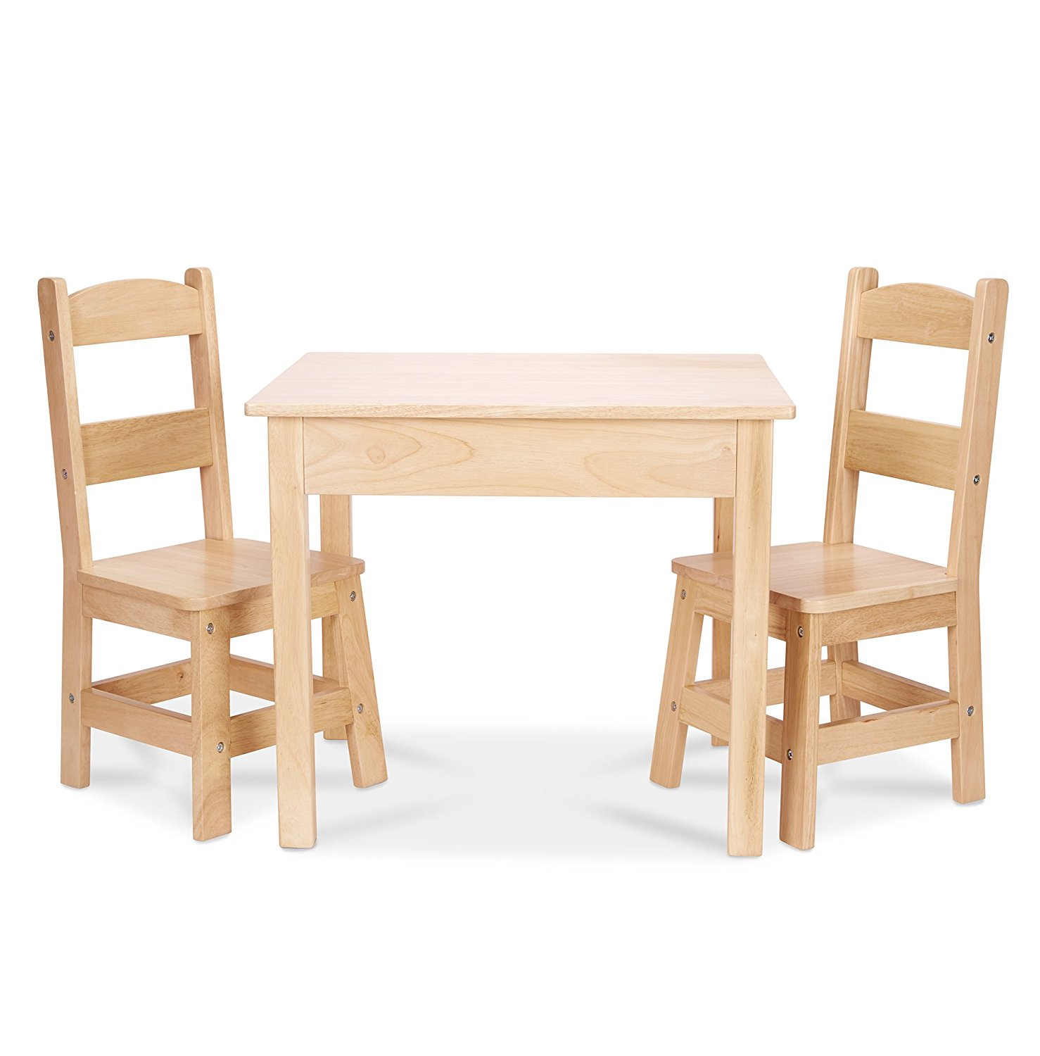 Melissa doug solid wood table and 2 chairs set light for Kids sitting furniture